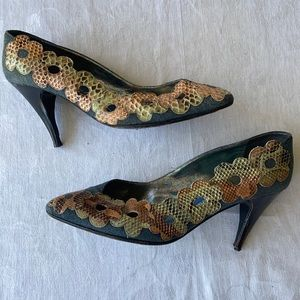 Thierry Mugler Paris vintage denim/leather heels